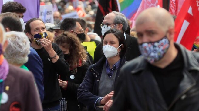 Pablo Iglesias, en la manifestación del 1-M.