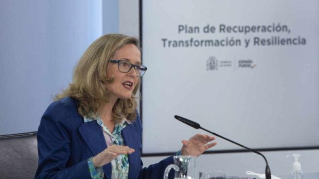 La vicepresidenta segunda y ministra de Asuntos Económicos y Transformación Digital, Nadia Calviño en una rueda de prensa