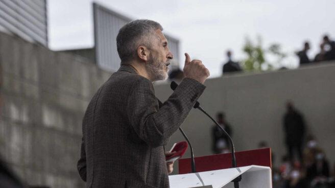 Fernando Grande-Marlaska, en un mitin de las elecciones del 4-M.