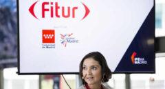 La ministra de Industria, Comercio y Turismo, Reyes Maroto interviene durante la presentación de FITUR 2021.