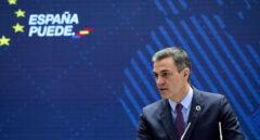 El presidente del Gobierno, Pedro Sánchez, interviene en la presentación del Plan de Acción para la Internacionalización de la Economía Española 2021-2022, en la sede del Instituto de Comercio Exterior (ICEX),