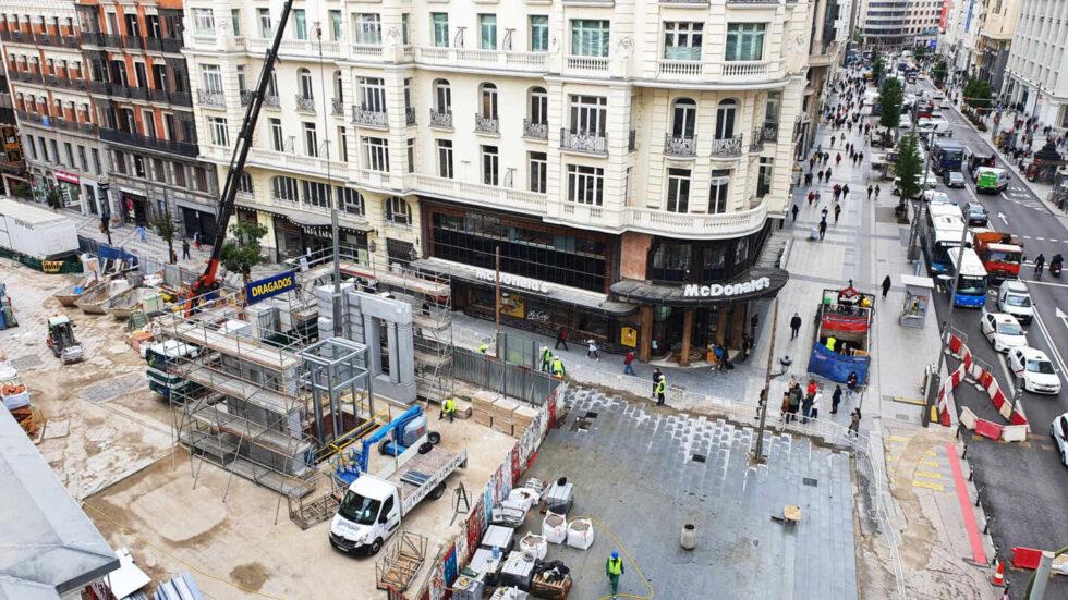 Imagen de las obras de la estación de Gran Vía, que se inaugurará en julio