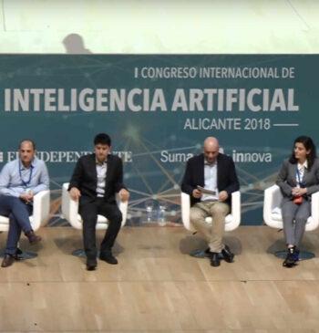 Mesa redonda de ponentes en el en el 1 Congreso Internacional de Inteligencia Artificial 2018 Alicante