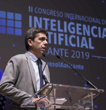 El presidente de la Diputación de Alicante, Carlos Mazón, durante el 2º Congreso Internacional de Inteligencia Artificial 2019 de Alicante