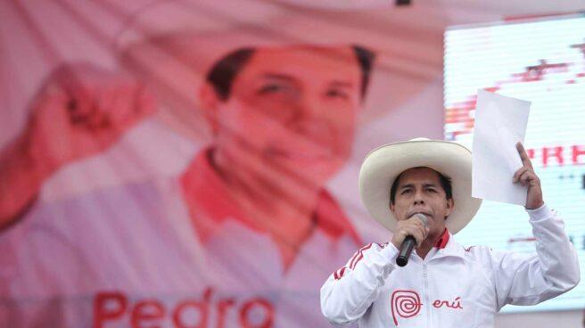 Pedro Castillo, candidato de Perú Libre, en un mitin