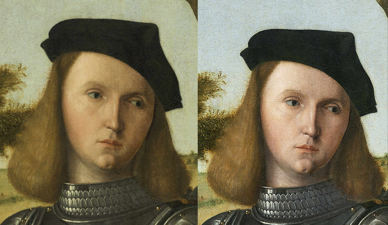 Imagen del antes y el después en el rostro del caballero del cuadro