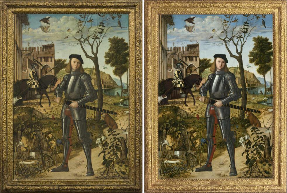 A la izquierda, el cuadro antes de ser restaurado; a la derecha, el trabajo final