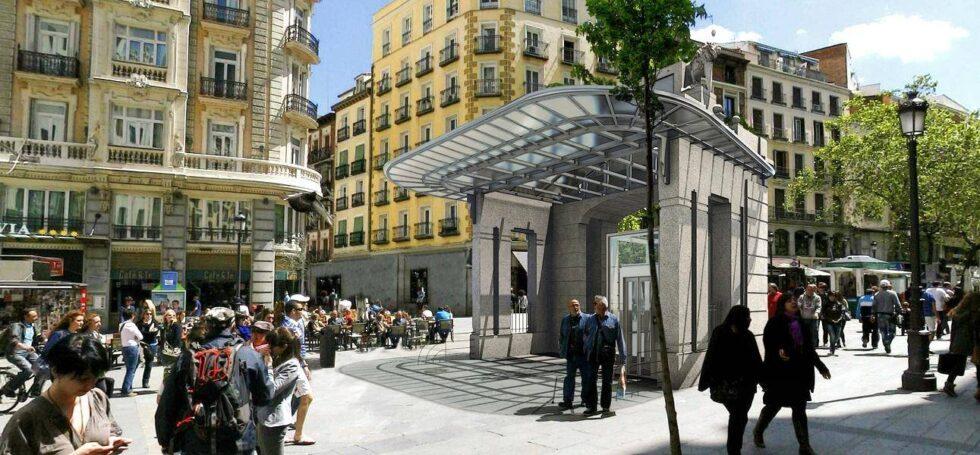 Recreación del templete de Antonio Palacios en la estación de Gran Vía