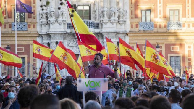 El presidente nacional de Vox, Santiago Abascal, durante una manifestación frente al Palacio de San Telmo (Sevilla)