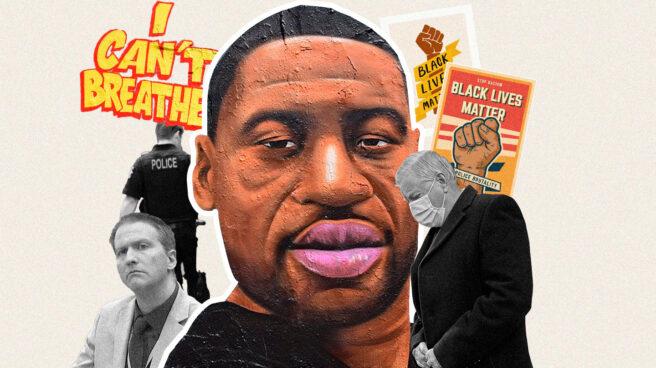 Collage del retrato de George Floyd con carteles de Black Lives Matter y el policía responsable, Derek Chauvin