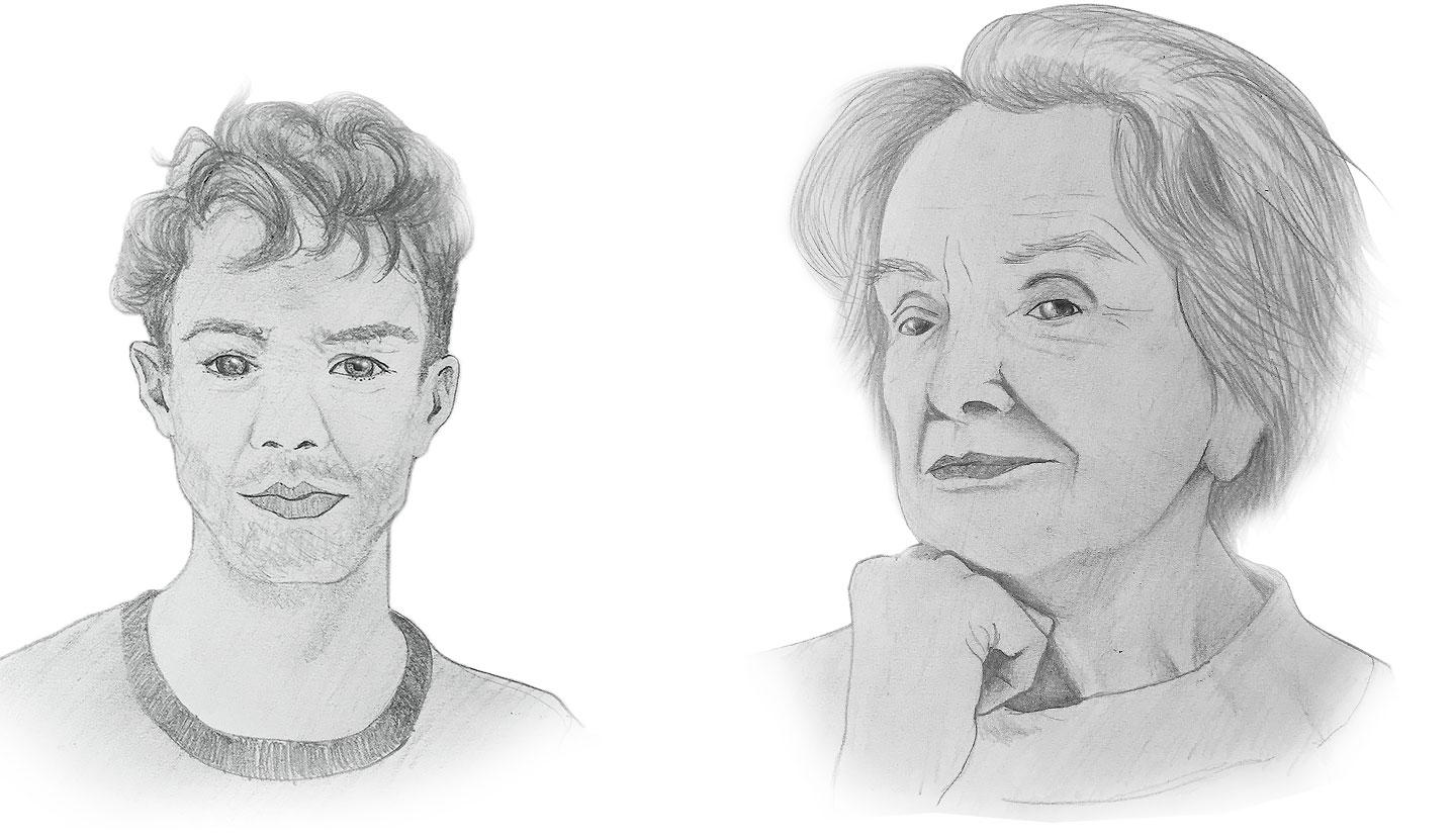 Retrato a lápiz de una persona muy joven y una mayor