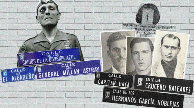 Imagen los carteles de las calles de Madrid que mantienen el nombre montado sobre la imagen de Millán Astray y los hermanos García Noblejas sobre las que cambian de nombre