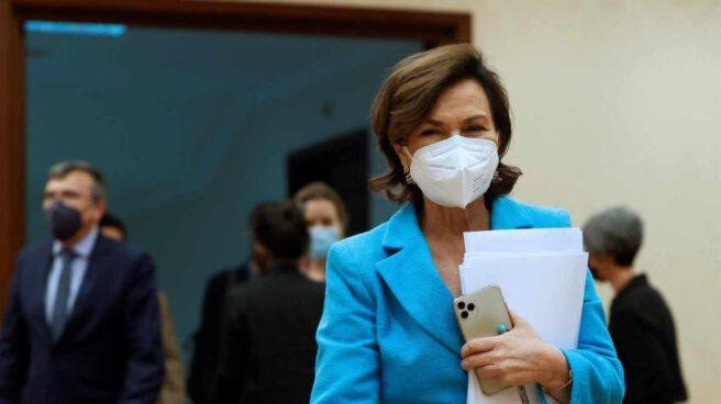 Carmen Calvo, en el Congreso durante una comparecencia en la comisión constitucional.