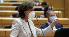 La vicepresidenta del Gobierno, Carmen Calvo, en el Senado.