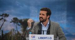 El presidente del PP, Pablo Casado, durante un acto de campaña.