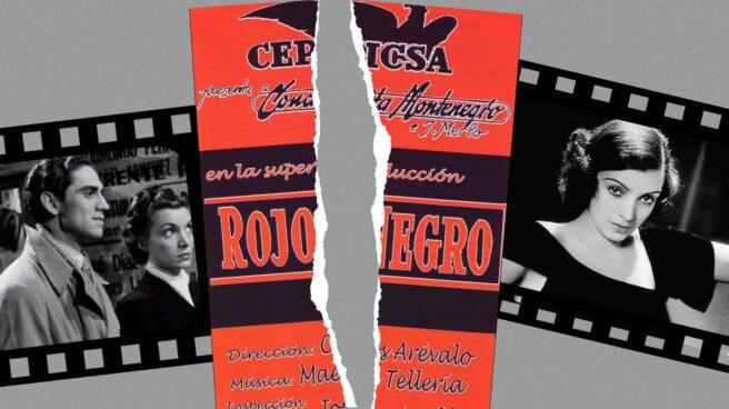 Montaje de la película Rojo y Negro con un corte en medio del cartel y dos fotogramas detrás