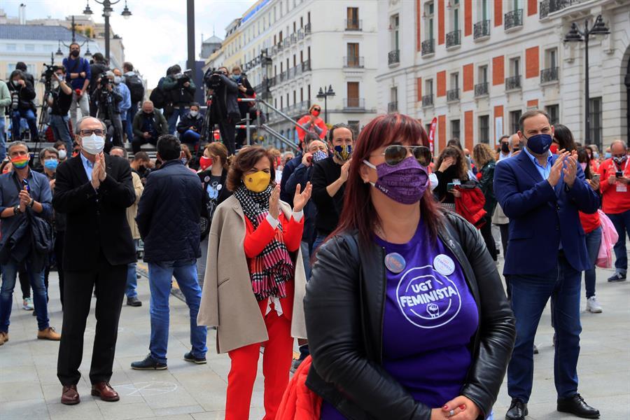 Gabilondo, Calvo, Iglesias y Ábalos, en la manifestación del 1-M.