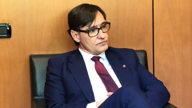 El candidato del PSC y ex ministro de Sanidad, Salvador Illa, durante una entrevista con El Independiente.