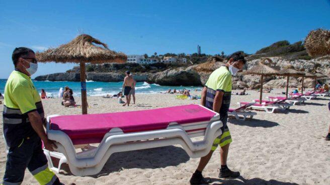 Varios operarios colocan hamacas en la playa de Cala Domingos Gran de Manacor.