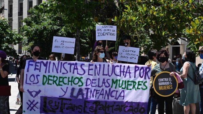Un grupo de feministas protesta ante el Congreso de los Diputados contra la 'Ley Trans'.