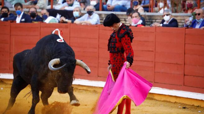 El torero Finito de Córdoba, con el capote en la corrida de la Feria de Córdoba celebrada este domingo.