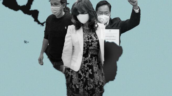 Imagen de Pablo Iglesias, Cristina Kirchner y Luis Arce