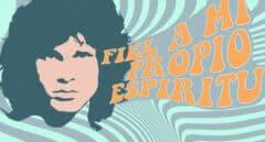 Ilustración de Jim Morrison estilo psicodélico y la frase fiel a mi propio espíritu