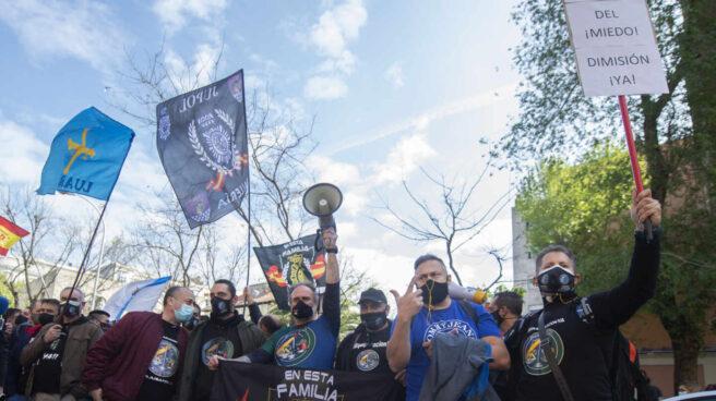 Concentración en apoyo al líder de Jupol celebrada el pasado 14 de abril por los expedientes abiertos por la Policía.