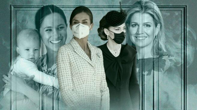 Imagen de un montaje con Megan Markle y su hijo Archie, la reina Letizia, Kate Middleton y Máxima de los Países Bajos
