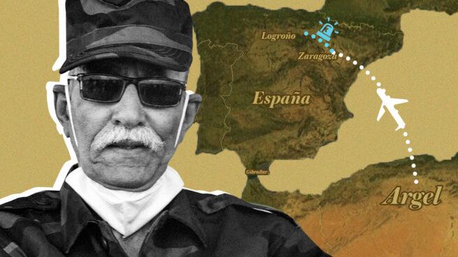 Imagen del líder polisario Brahim Gali con un mapa de su viaje a Zaragoza y de Zaragoza a Logroño en ambulancia