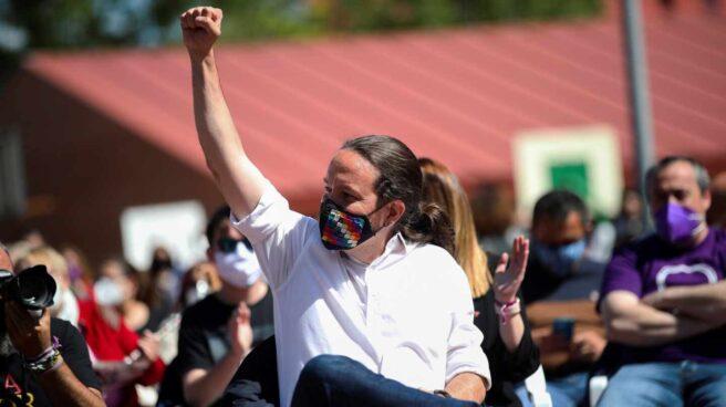 Pablo Iglesias, en un acto durante la campaña de las elecciones madrileñas