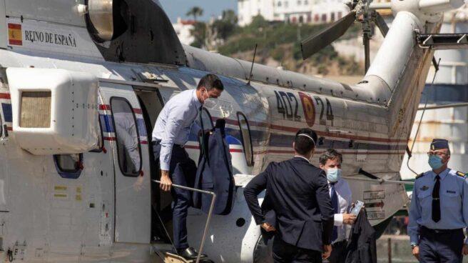 Pedro Sánchez llega en helicóptero a Ceuta, este martes.