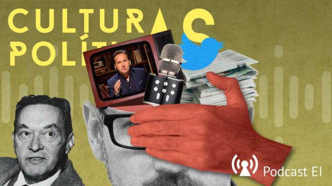 Imagen del Podcast culturas políticas con un montaje de uan cabeza partida de la que salen medios de comunicación y la cara de Walter Lippman a la izquierda