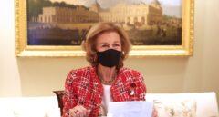 Doña Sofía, en una reunión de trabajo en el mes de abril.