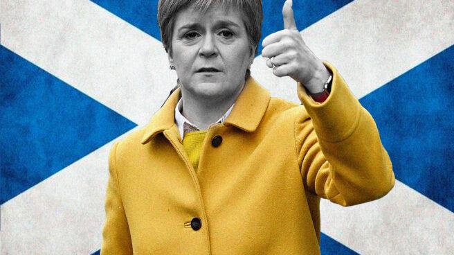 Imagen de Nicola Sturgeon con el mapa de Escocia detrás