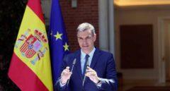 El presidente del Gobierno, Pedro Sánchez, comparece tras la reunión del Consejo de Ministros en el Palacio de la Moncloa este martes.