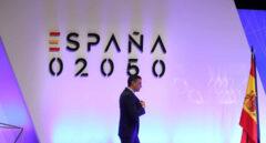 El presidente del Gobierno, Pedro Sánchez, después de intervenir en la presentación del proyecto España 2050