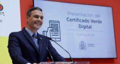El presidente del Gobierno, Pedro Sánchez, pronuncia unas palabras durante la presentación del certificado verde digital