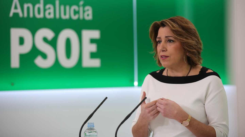 Susana Díaz, en una comparecencia informativa en la sede del PSOE andaluz.