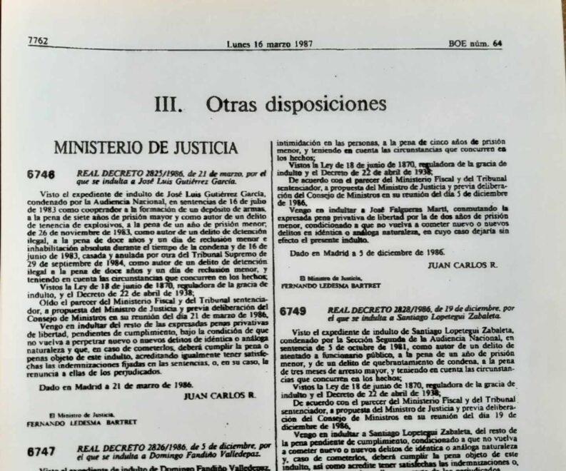 Boletín Oficial del Estado del 16 de marzo de 1987 que publica el indulto del preso de ETA, Santiago Lopetegi.