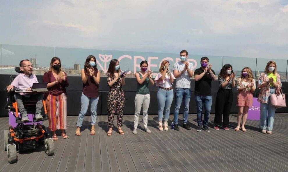 Belarra en el último acto de campaña el pasado viernes en Zaragoza con, entre otros, Irene Montero y Pablo Echenique