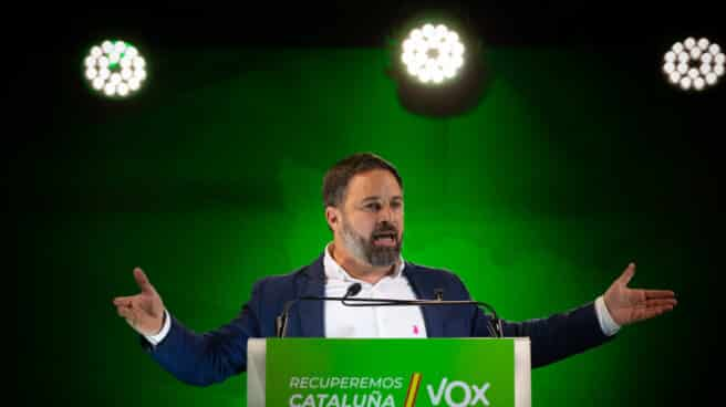 El presidente de Vox, Santiago Abascal, durante el acto de cierre de campaña del partido en Barcelona