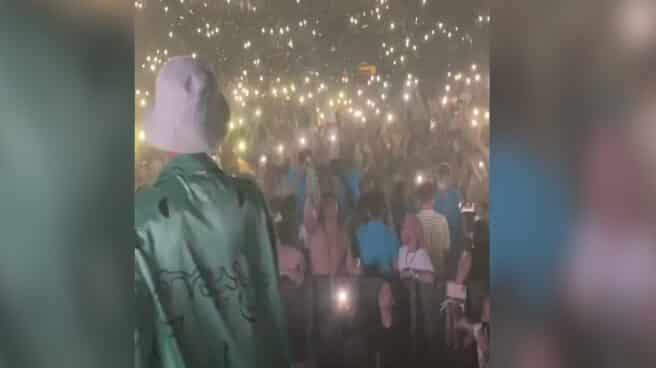 Captura del vídeo que subió el cantante Maikel Delacalle a su Instagram el día de la fiesta en la Plaza de Toros de Mallorca