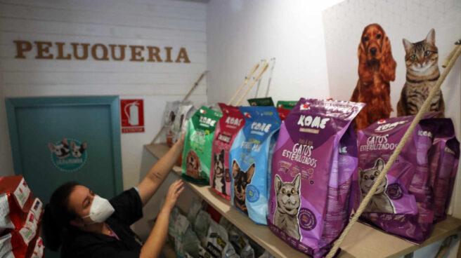 Una dependienta de una tienda de animales en Málaga.