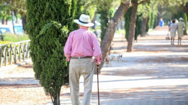 Imagen de un anciano caminando.