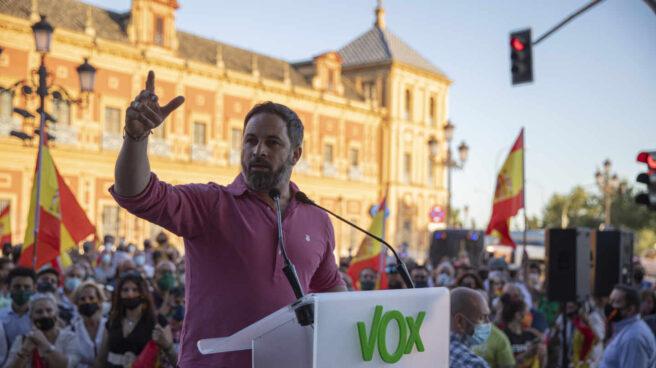 El presidente nacional de Vox, Santiago Abascal , durante una manifestación en Sevilla.