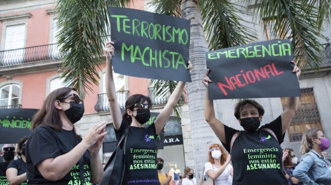 Dos mujeres con un cartel de `Terrorismo machista´, en una manifestación en Santa Cruz de Tenerife.