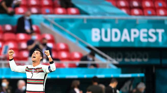 Cristiano Ronaldo celebra un gol durante la Eurocopa frente a Hungría