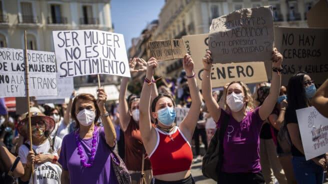 Protesta de organizaciones feministas contra la ley Trans, en el centro de Madrid el pasado sábado