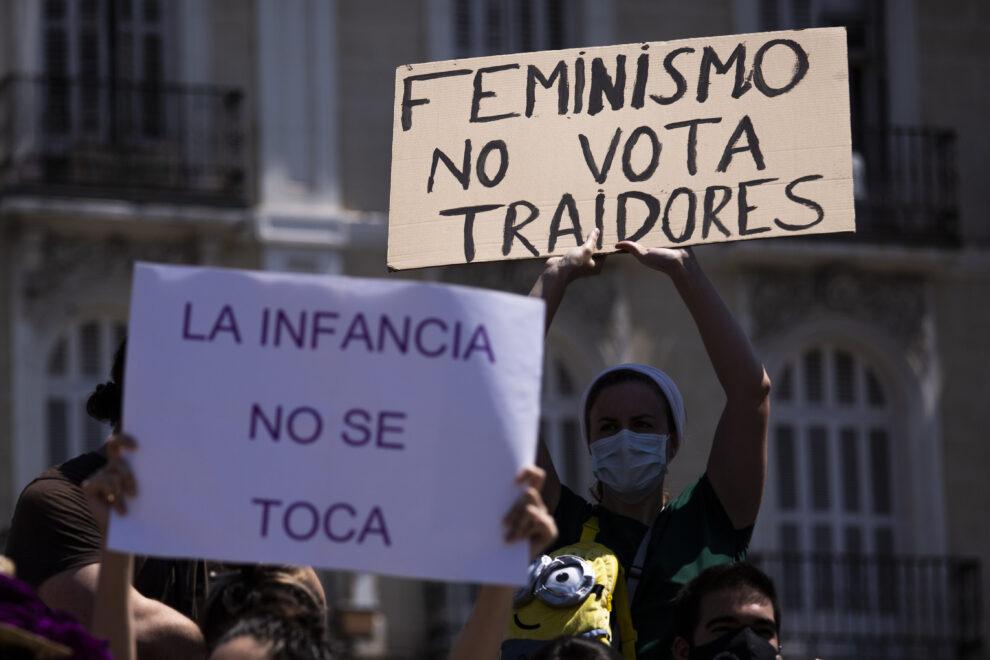 Pancartas en la protesta feminista del pasado sábado en Madrid